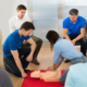 first aid at work refresher, group & onsite first aid training, CPR, team work
