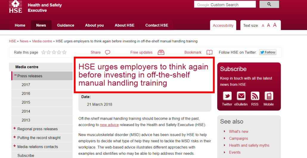 Manual Handling Training HSE