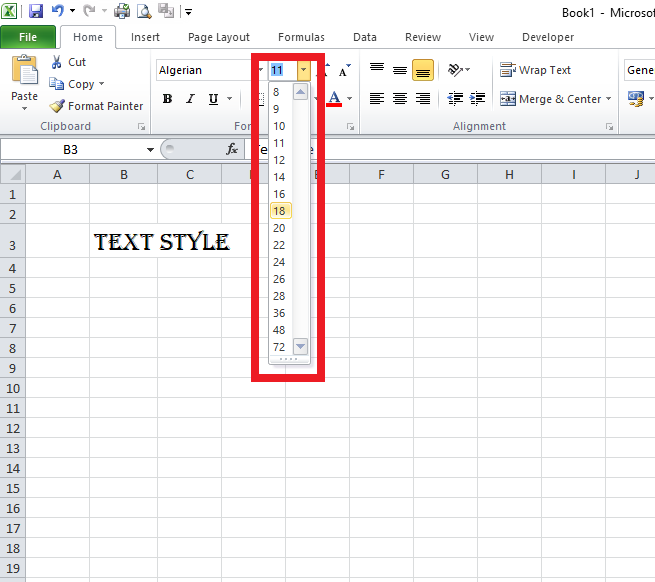 Excel changing text size