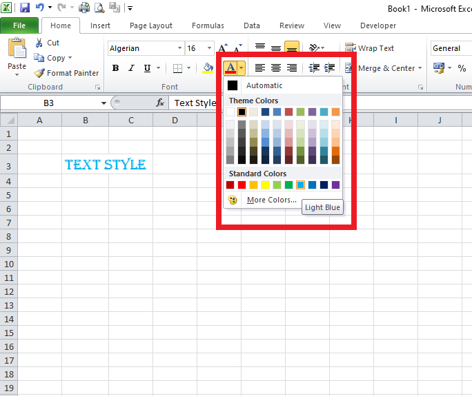 Excel changing text colour